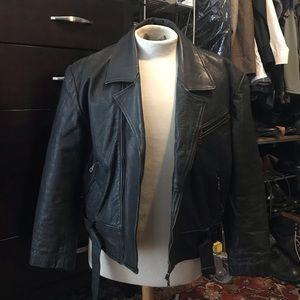 Jackets & Coats - Black Leather Biker Jacket